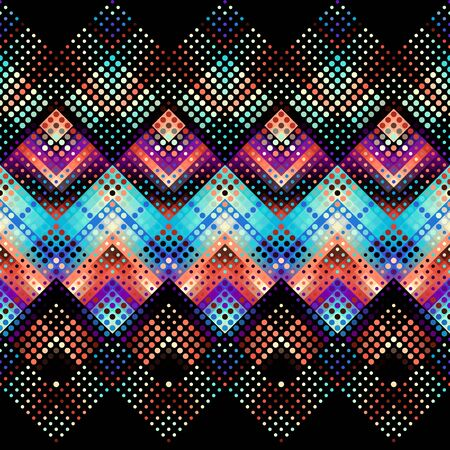 Geometric abstract pattern based on chevron shapes. Polka dot pattern on low poly background. Vector image. 일러스트