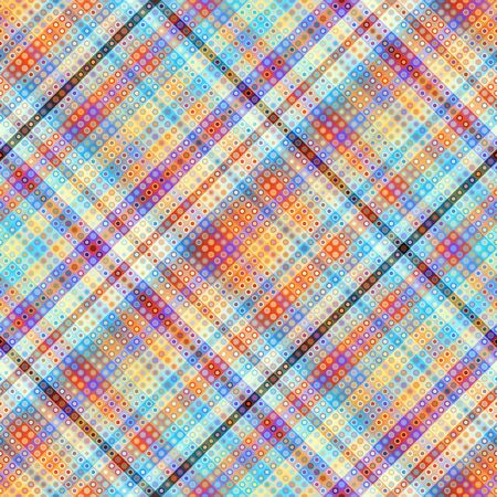 Seamless background. Geometric abstract diagonal plaid pattern in low poly pixel art style. Pastel colors. Vector image. Ilustração