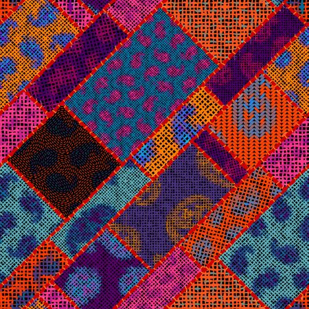Imitation of indian patchwork pattern with texture canvas Vector seamless image.