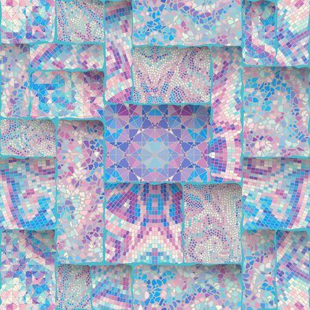 Seamless background pattern. Emboss mosaic art pattern based on Art Nouveau style. Vector image. Ilustração