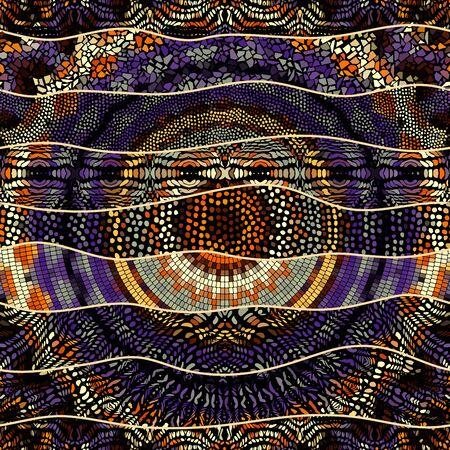 Seamless background pattern. Mosaic art pattern of wavy shapes. Vector image. Ilustração