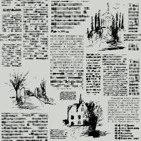 Seamless vector pattern. Imitation of a abstract vintage newspaper. Unreadable text. Ilustración de vector