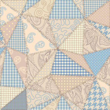 Seamless background pattern. Beige patchwork pattern. Vector image