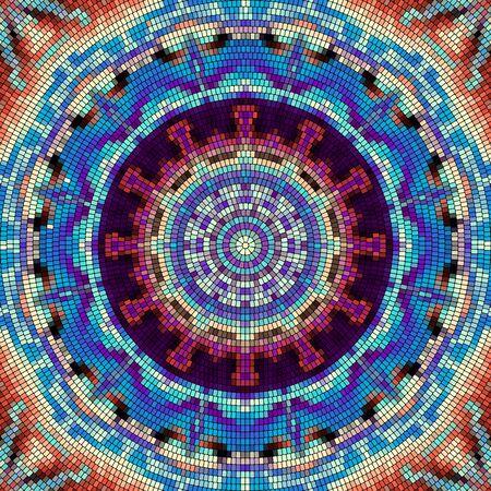 Seamless mosaic art pattern. Mosaic mandala.. Vector image.