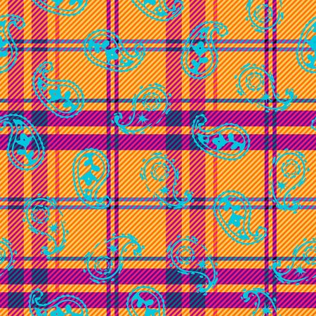 Abstract geometric plaid pattern with paisley. Seamless background. Vector image.
