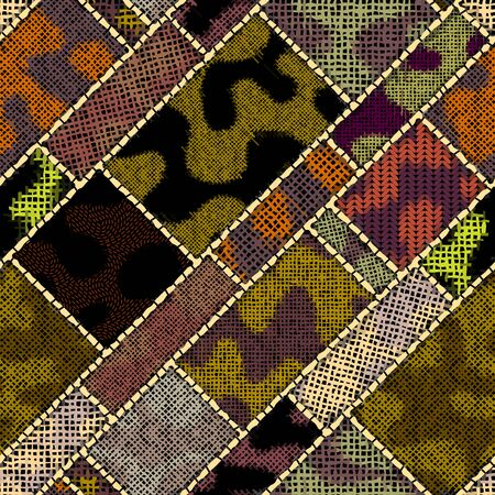 Imitation of indian patchwork pattern with texture canvas in military style. Vector seamless image. Ilustração