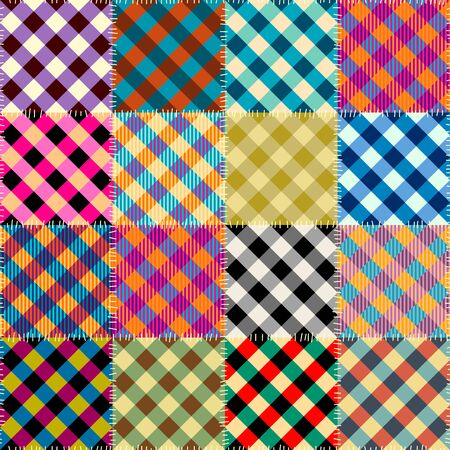 Seamless background pattern. Textile patchwork of plaid patterns. Vector image  イラスト・ベクター素材