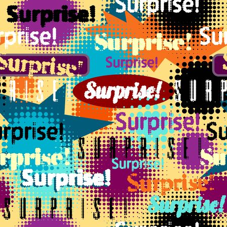 Seamless background pattern. Imitation of halftone abstract vintage lettering with word Surprise.
