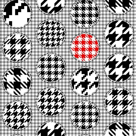 Classic Hounds-tooth pattern in patchwork style. Polka dot pttern. Vector seamless image.