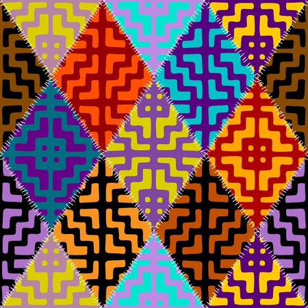 Seamless background pattern. Abstract ethnic tribal pattern in patchwork style. Vector image.