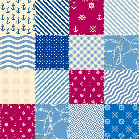 Seamless pattern. Patchwork pattern in marine style. Vector illustration.