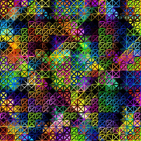 Abstract geometric pattern in low poly style. Pattern of small triangles. Vector image.  イラスト・ベクター素材