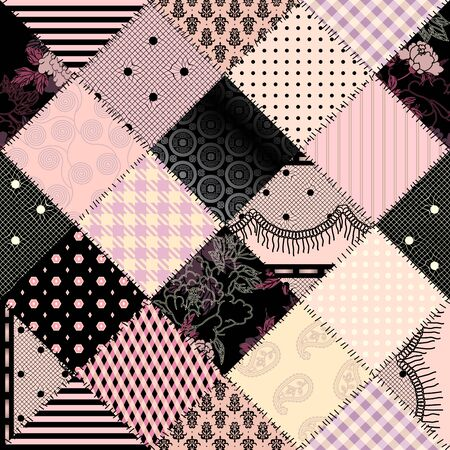 Seamless background pattern. Textile ligerie patchwork pattern. Vector image