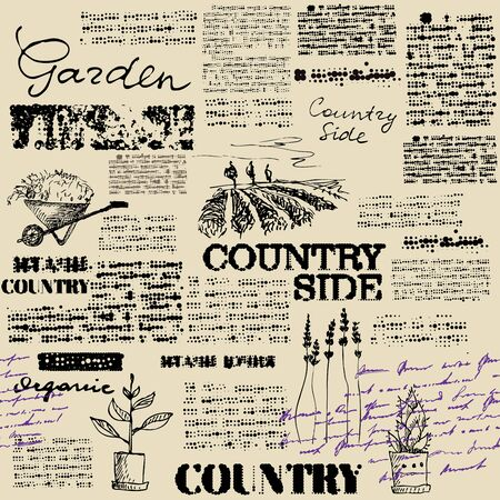 Newspaper seamless pattern. Vector image with hand draw pattern. Country side.