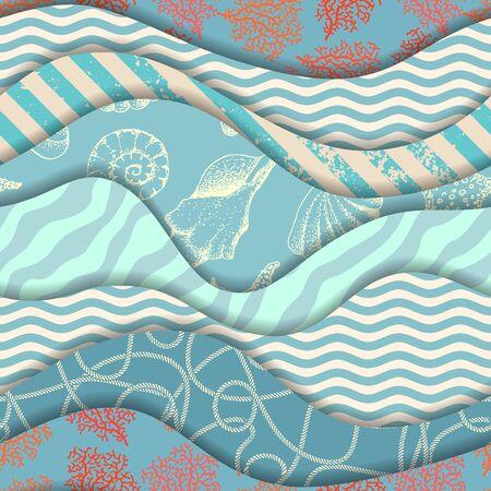 Seamless pattern. Wavy pattern in marine style. Vector illustration.