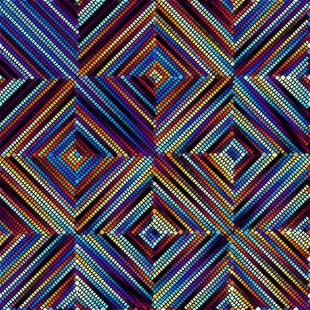 Seamless background pattern. Mosaic art pattern. Block design of squares. Vector image. Ilustração