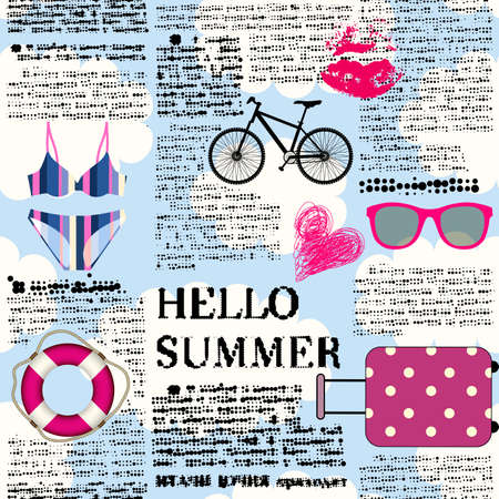 Seamless background pattern. Imitation of halftone newspaper with word Hello Summer.