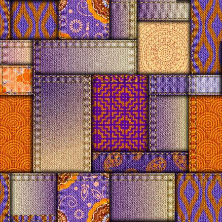 Seamless background pattern. Textile patchwork pattern. Purple jeans pattern. Vector image Vektorové ilustrace