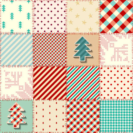 Seamless background pattern. Christmas Patchwork pattern. Vector image