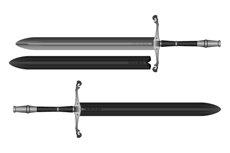 A steel sword vector design on plain background.