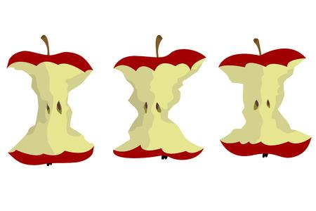 An apple core vector design on plain background.