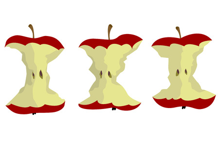 An apple core vector design on plain background.