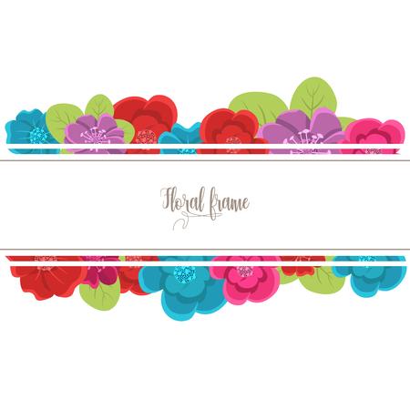 Elegant design illustration of floral frame template with text inside Illustration