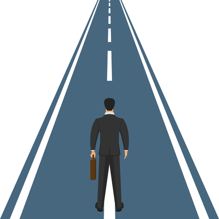 Businessman with suit and briefcase standing on road vector design illustration.