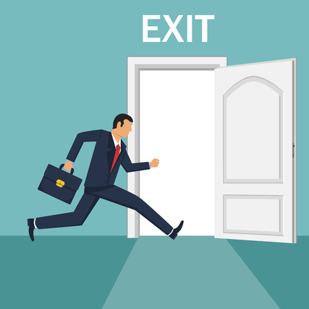 Businessman running out of the exit door vector design illustration