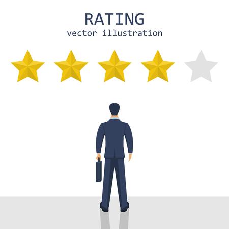 Businessman rating stars vector design illustration