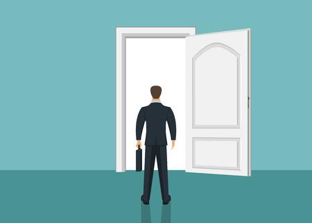 Businessman standing in front of door. Choosing the way. Moving forward