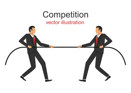 Competition. Businessman in suit pulling the rope. Trying to win.