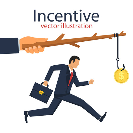 Incentive vector design illustration. Businessman running after money.