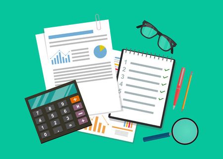 Auditing and business analysis concept. Financial adviser, auditing tax process, big data analysis,seo analytics, financial report.