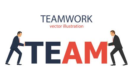 Teamwork vector design illustration, businessmen working together