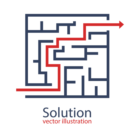 Problem solution vector design illustration, businessman thinking, searching for solutions