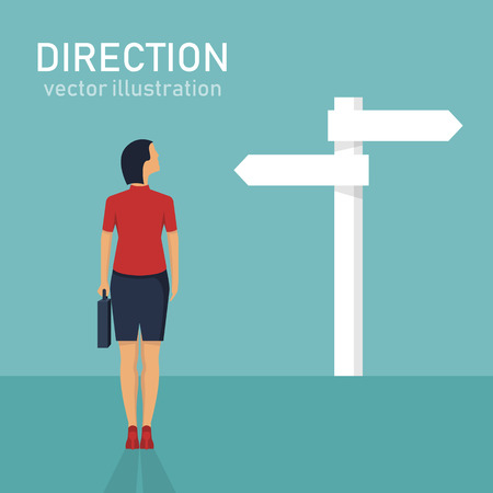 Direction choosing flat vector design illustration, dilemma Çizim