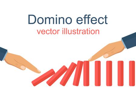 Domino effect flat vector design illustration Illustration