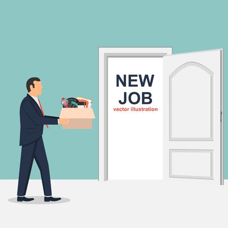 New job flat vector design illustration, businessman changing jobs Ilustrace