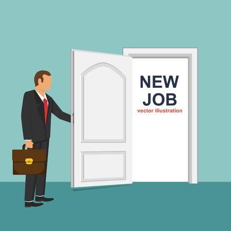 New job flat vector design illustration, businessman changing jobs Vectores