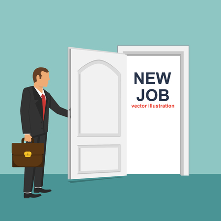 New job flat vector design illustration, businessman changing jobs Illustration