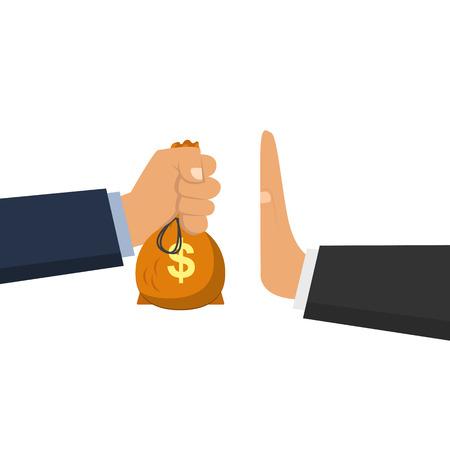 Offering bribe flat vector design illustration, rejection money, stop coruption