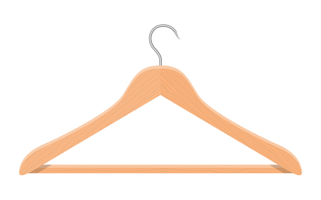 Realistic wooden clothes hanger vector design illustration isolated on white background