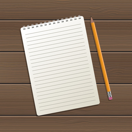 Realistic notebook and pen on wooden background vector design illustration