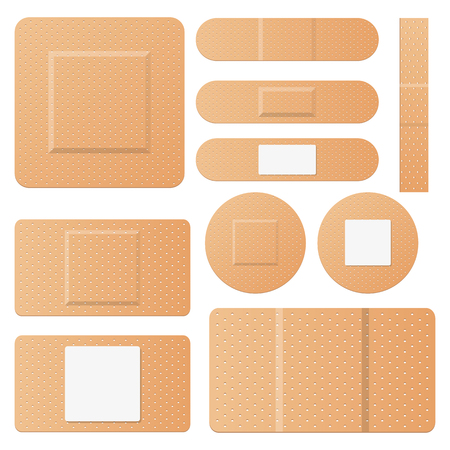 Set of medical patches vector design illustration isolated on white background Standard-Bild - 120621195