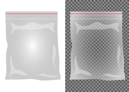 Empty plastic transparent bag vector design illustration