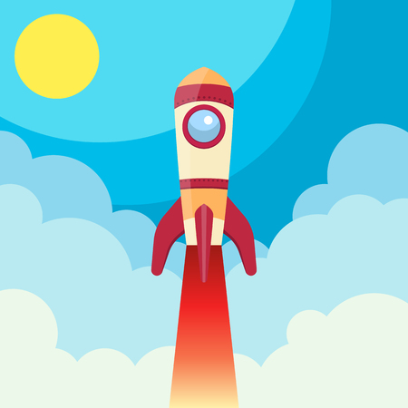 Rocket flying in space vector design illustration