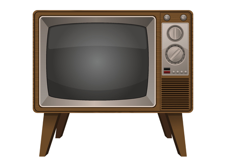 Vintage old television vector design illustration isolated on white background