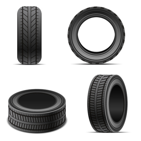 Wheel tires set vector design illustration isolated on white background