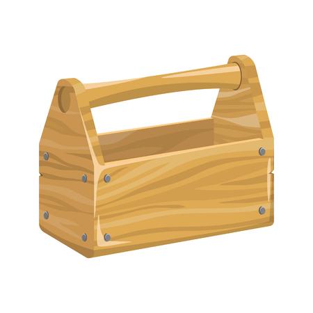 Empty tools wooden box vector design illustration isolated on white background Stock Illustratie